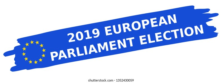 2019 European Parliament Election, blue brush stroke, EU flag, stars, oblique, banner