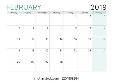 2019 February calendar or desk planner weeks start on Monday, plain white and light green theme