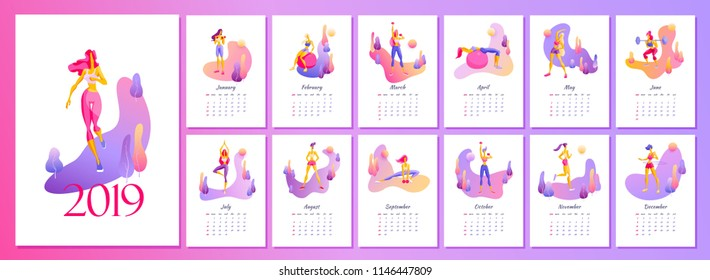 2019 Female monthly fitness calendar New Year 2019 in trendy gradient design with illustrations of beautiful slender girls performing exercises Vector illustration