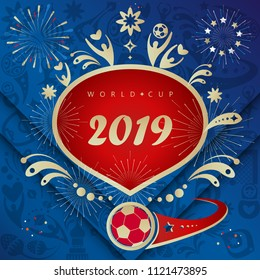 2019 Fireworks Fan Soccer World festival pattern with decorative elements, stars, soccer ball, abstract holiday starburst background, vector, happy new year event invitation card ticket, banner design