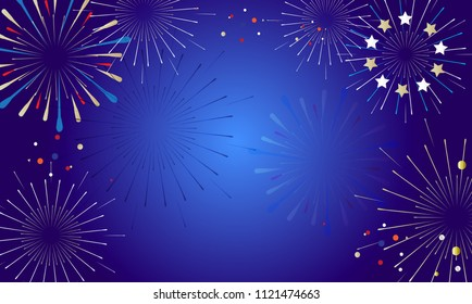2019 Fireworks festival pattern with decorative elements, stars, ball, abstract holiday shiny starburst background, vector template, happy new year event invitation, card, ticket, banner, set, design