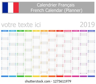 2019 French Planner Calendar with Vertical Months on white background