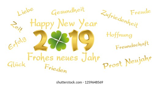 2019 with german text frohes neues jahr means we wish all the best happy new year  with cloverleaf, white background