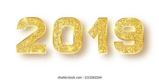 2019 glitter typography design. Gold sparkling Numbers Design of greeting card of Happy new year design. Gold Shining Pattern. Happy New Year Banner with 2019 Numbers. Vector illustration.