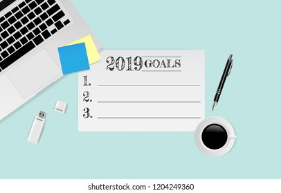 2019 Goals text on white paper with laptop, pen and coffee cup on green background. Vector illustration