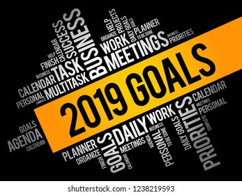2019 Goals word cloud collage, business concept background