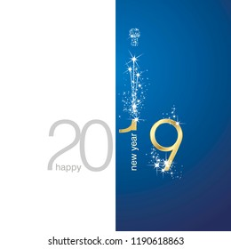 2019 Gold New Year firework champagne white blue illustration