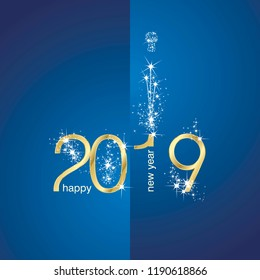 2019 Gold New Year firework champagne blue illustration