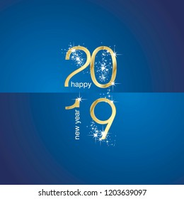 2019 Gold New Year sparkle firework blue illustration landscape background