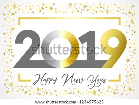 2019 golden glitter happy new year xmas greetings card gold snowy winter background stained