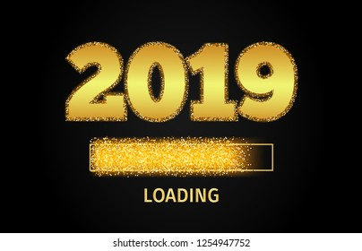 2019 Golden Loading Bar showing progress almost reaching new year. Golden glitter and loading panel on black background. Vector  illustration.