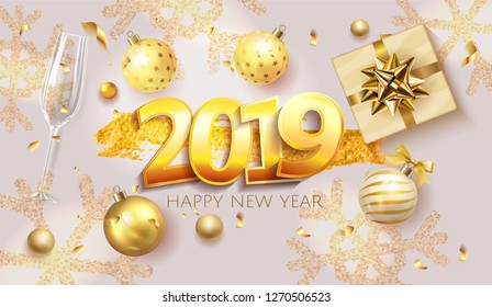 2019 golden number with confetti new year, merry christmas celebration decoration design elements with gift box and ball. Vector realistic traditional xmas party greeting symbols illustration