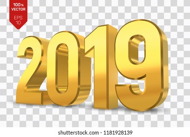 2019 Golden Numbers isolated on transparent background. 3D isometric new year sign for greeting card or poster. Happy New Year 2019. Vector Illustration.