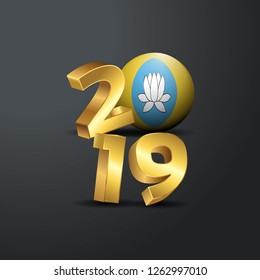 2019 Golden Typography with Kalmykia Flag. Happy New Year Lettering