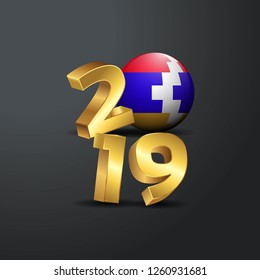 2019 Golden Typography with Nagorno Karabakh Republic Flag. Happy New Year Lettering