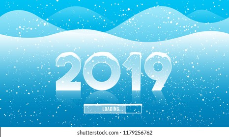 2019 greeting card with loading text. Winter season download 2019 concept.