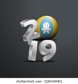 2019 Grey Typography with Kalmykia Flag. Happy New Year Lettering