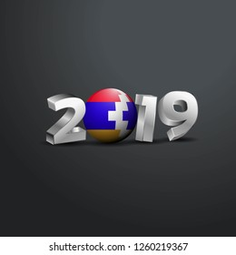 2019 Grey Typography with Nagorno Karabakh Republic Flag. Happy New Year Lettering