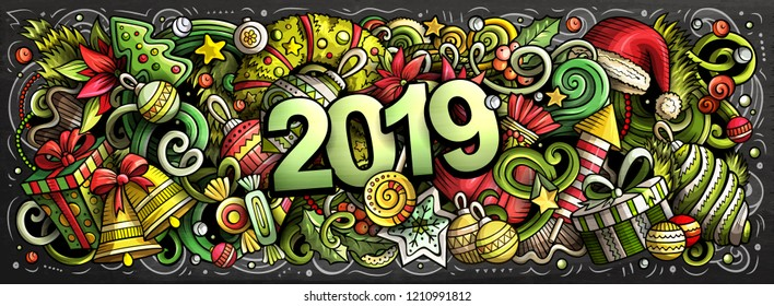 2019 hand drawn doodles horizontal chalkboard illustration. New Year objects and elements poster design. Creative cartoon holidays art background. Colorful vector drawing