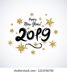 2019 hand written lettering decorated with realistic Golden 3D Stars isolated on light background. Glossy Christmas stars icon. Concept design element for Happy New Year, Xmas holidays. Vector