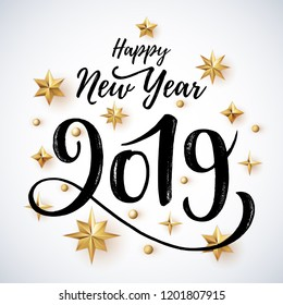 2019 hand written lettering with golden christmas stars on a white background happy new year