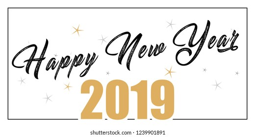 2019 hand written lettering with golden Christmas stars  Happy New Year card design. Vector illustration EPS