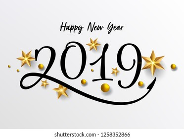 2019 hand written lettering with golden Christmas stars on a black background. Happy New Year card design. Vector illustration EPS 10 file. - Vector
