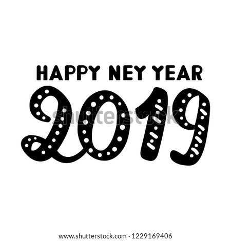 happy new year card designflat vectorhand sketch