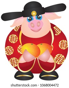 2019 Happy Chinese Lunar New Year of the Pig Prosperity Money God Holding Mandarin Oranges vector Illustration Isolated on White Background