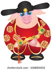 2019 Happy Chinese Lunar New Year of the Pig Prosperity Money God Holding Ruyi Scepter with Prosperity Text vector Illustration on White Background