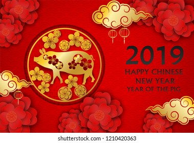 2019 Happy Chinese New Year. Design with flowers and pig  paper art style on red background. happy pig year. Vector.