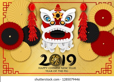 2019 Happy Chinese New Year. Design with Chinese lion ,paper art style . happy pig year. Vector.