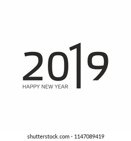 2019 Happy New Yearю Calendar Design,  Greeting Card or Seasonal Flyers. Vector