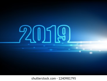 2019 Happy New year with abstract futuristic innovation of digital technology background, vector illustration