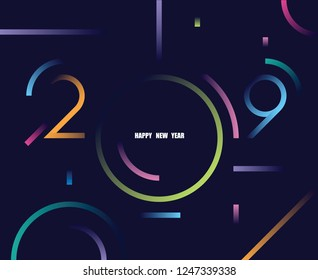 2019 happy new year abstract card design with gradient line