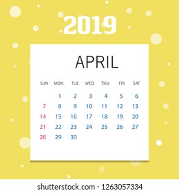 2019 Happy New year April Calendar Template. Christmas Background