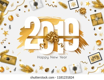 2019 happy new year background vector illustration