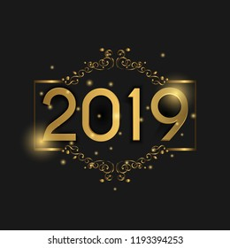 2019 Happy New Year Background. Luxury concept with golden color. suitable for Seasonal Flyers and Greetings Card