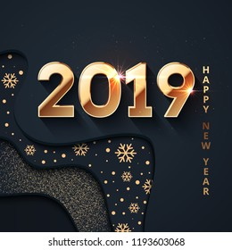 2019 Happy New Year Background. Gold text design. Dark vector greeting illustration with golden numbers and snowflakes, lights