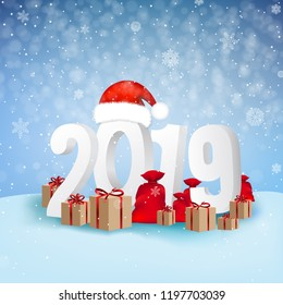 2019 Happy New Year Background Card With Gradient Mesh, Vector Illustration