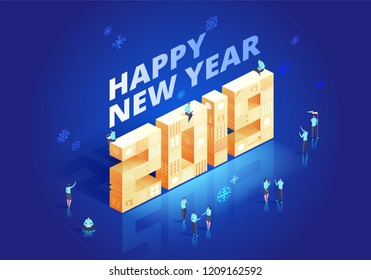 2019 Happy New Year Background for your Seasonal Flyers and Greetings Card or Christmas themed invitations. Isometic vector illustration