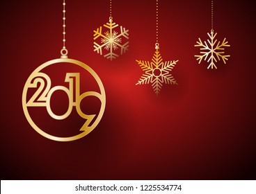 2019 Happy New Year background. Golden balls and ice for postcard, calendar and greeting