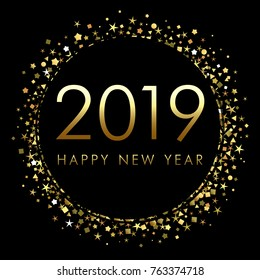 2019 Happy New Year background with number and golden glitter. Gold number 2019 and text happy new year, vector design template. Greeting card design
