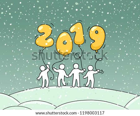2019 happy new year background cartoon doodle illustration with liitle people holding balloons hand