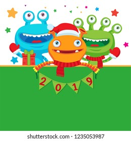 2019 Happy New Year Banner. Cute Monsters In Winter Scarf With Numbers. Greeting Illustration. Symbol Of Winter Holidays Celebration Card.
