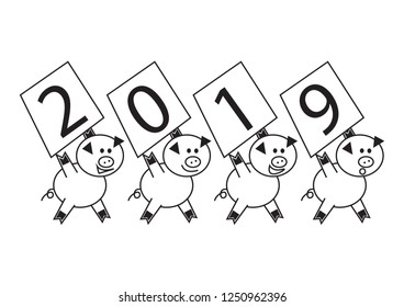 2019 Happy New Year banner , Cute pics carring text 2019 , Cartoon Charracter Vector illustration