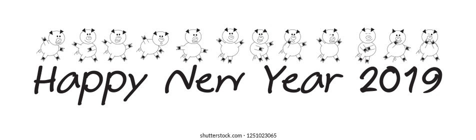 2019 Happy New Year banner , Cute pigs Cartoon Charracter Vector illustration