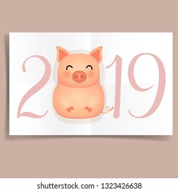 2019 Happy New Year banner with Cute pig. Vector illustration.