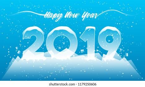 2019 Happy New Year card design. 2019 winter season concept.