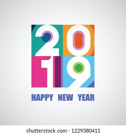 2019 happy new year card design